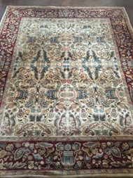 "Cream Oriental Rug w/ Red Border 7'7"" x 9'5"""