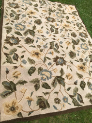 "Tan Area Rug with Green floral Pattern 7'10"" x 10'8"""