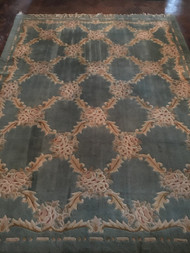 10.5' x 8' Light Blue / Cream Diamond Pattern Area Rug