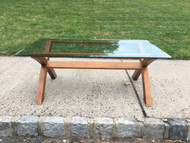 Glass Top Crossed Leg Coffee Table