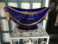 "16"" x 11"" Oval Cobalt Blue / Gold Glazed Planter Pot - Vintage NEW OLD STOCK!"