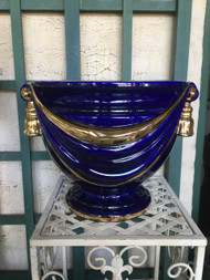 "14"" Cobalt Blue / Gold Glazed Planter Pot w/ Tassles- Vintage NEW OLD STOCK!"