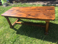 6.5FT  Farmhouse Solid Pine Trestle Table
