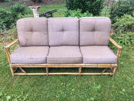 Bamboo Patio Sofa w/ Brown Cushions