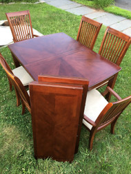 8FT Cherry Dining Table w/ 6 Chairs