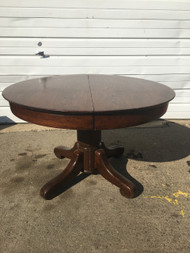 "Antique 44"" Round Oak Pedestal Table"