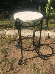 Rope Twist Iron Plant Stand w/ Travertine Top