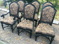 Set of 6 Black Upholstered Dining Chairs by American Drew