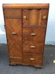 Antique Art Deco Waterfall Chiffarobe Armoire