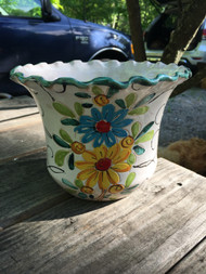 "8"" Floral Glazed Terracotta Planter Pot -  Vintage NEW OLD STOCK!"