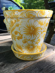 "8"" Yellow / White Planter w/ Saucer -  Vintage NEW OLD STOCK!"