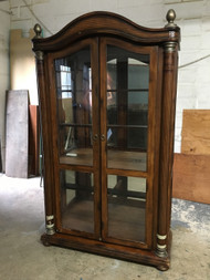 Wood and Leather Glass Curio Cabinet