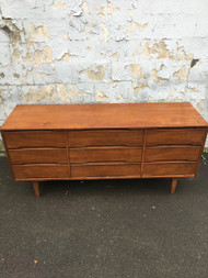 Mid Century Modern Walnut Long 9 Drawer Dresser