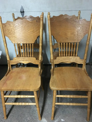 Set of 4 Oak Pressback Dining Chairs