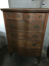 Antique Oak 6 Drawer Serpentine Front Dresser