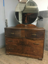 Antique Art Deco 4 Drawer Dresser w/ Mirror