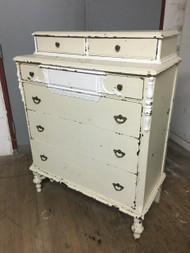 Tall Victorian White 6 Drawer Dresser