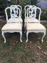 Set of 4 White French Dining Chairs