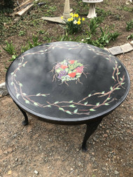 Antique Handpainted Black Painted Round Table