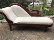 Upholstered Chaise Lounge w/ Carved Swan