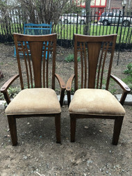 Pair of Oak Mission Dining Room Arm Chairs