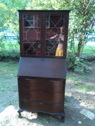Antique Mahogany Serpentine Front Secretary