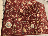 8' x 10' Red Floral Area Rug