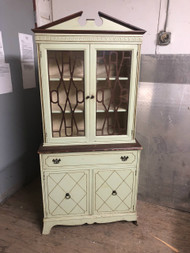 Vintage Handpainted Light Green China Cabinet