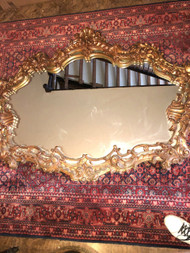 5ft Antique French Carved Wood Gilded Mirror