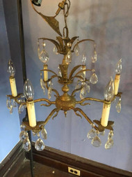 Antique 6 Arm Brass Chandelier - Made in Spain