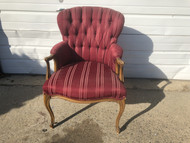 Red Queen Anne Tufted Arm Chair