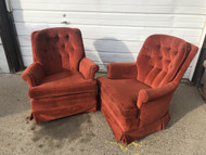 Pair of Burnt Umber Velvet Swivel / Rocker Arm Chairs