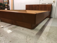 Danish Modern Queen Floating Platform Teak Bed