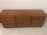 Danish Modern Teak Long 9 Drawer Dresser