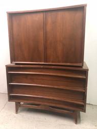 Mid Century Modern Walnut Armoire Dresser