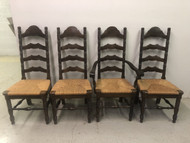 Set of 4 Oak Ladderback Dining Chairs