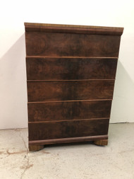 Antique Art Deco Walnut 5 Drawer Dresser
