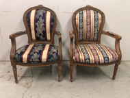 Pair of Carved French Arm Chairs