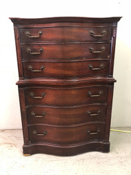 Antique Mahogany Serpentine 6 Drawer Dresser