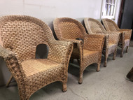 Set of 4 Natural Wicker Arm Chairs