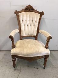 Victorian Eastlake Velvet Arm Chair