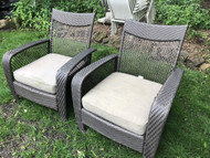 Pair of Faux Rattan Arm Chairs