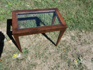 Small Glass Top Mahogany End Table