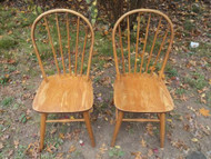 Pair Oak Spindle Back Chairs