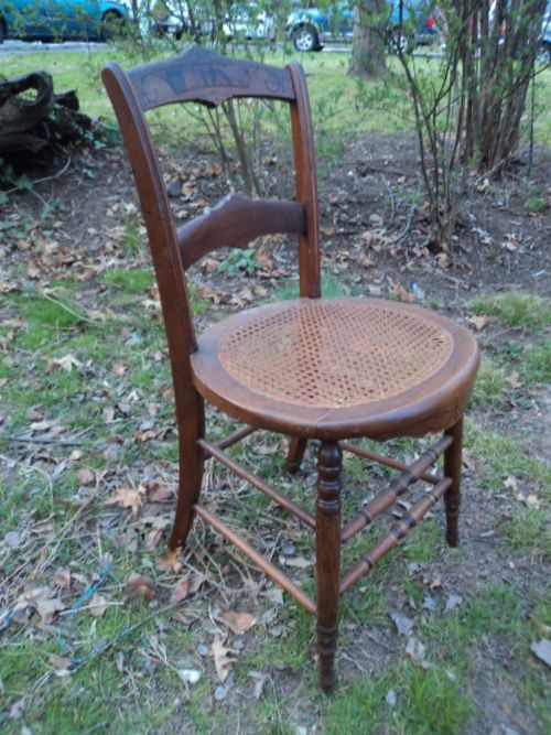 Antique Carved Round Cane Seat Chair Forgotten Furniture