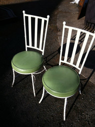 Pair of Metal Bamboo Side Chairs