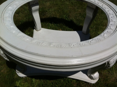 shabby chic white glass top coffee table - forgotten furniture
