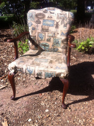 Queen Anne Cherry Upholstered Arm Chair
