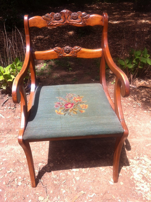 Antique Carved Cherry Arm Chair W Embroidered Seat