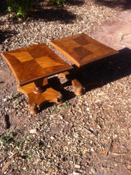 Pair of  Heritage Burled Walnut End Tables